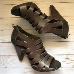 Franco Sarto crest cage heel dark brown 8